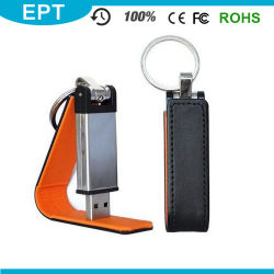 De nieuwe Schijf van het Leer USB van het Embleem Deboss met Keychain (EL016)