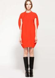 La mode lâche manchon Solid-Colored Batwing robe courte