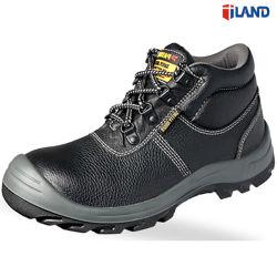 Кожаный безопасности труда обувь обувь с PU подошва из стали с поддержкой TOE и промежуточная подошва