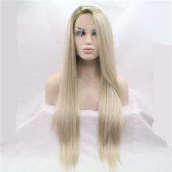 Ombre band blonde synthetische Spitze-Vorderseite-Perücke für Frauen-seitliche Teil-lange seidige gerade Spitze-Perücke-halbe Hand 20~26 Zoll erhältlich