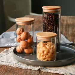 La verrerie en verre de thé café Candy Jar Jar Jar de stockage des ustensiles de cuisine en bois Cookie Jar en verre de couvercle