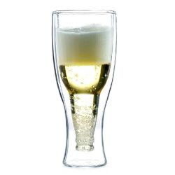 Style populaire haut verre double paroi en verre borosilicaté Vin Bière tasses