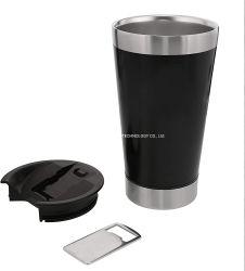 Bicchiere in vetro con pinta isolata da vuoto Classic Stay Chill, tazza in acciaio inox da 16oz con apribottiglie incorporato, doppio bicchiere in metallo resistente a parete