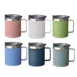 10 14oz Tasse de voyage isolation sous vide en acier inoxydable 18/8 Mugs tasse à café thermique à double paroi avec les couvercles et poignée coulissante