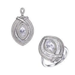925 の銀製の方法 CZ の悪目の吊り下げ型リングの宝石類セット