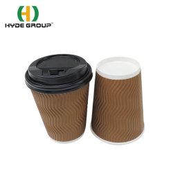 표준 일회용 리플 월 커피 컵(125ml/4oz Lids 친환경 종이 컵