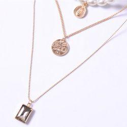 다이아몬드 여왕 긴 스웨터 사슬 다중 층 목걸이를 가진 형식 보석 창조적인 진주