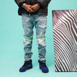 New Denim 남성용 청바지 스트릿디자인 멋진 미드를의 블루 컬러 고품질 탑 세일 청바지 도매 청바지 바이커를 찢어 입었다 Moto Men 청바지 슬림 핏 청바지 남성용