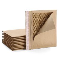 Embalagem de papel Honeycomb, saco de envio de papel castanho biodegradável personalizado Kraft, saco postal de chegadas novo envelope de papel de bolhas Honeycomb