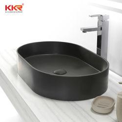 Pia do banheiro em cimento cinzento pedra artificial superfícies Corian lavatório com espelho de superfície sólida Pia