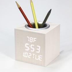 Kh-Wc012 Praça de Comando de Voz Digital de madeira LED Desktop Titular Caneta Calendário Despertador com temperatura de Tempo