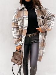 Shangyan Women Plaid Printing Fashion Long Tweed Coat
