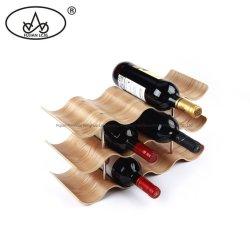 Producción Artesanal de utensilios de cocina de madera rústica encimera de almacenamiento de botellas de vino Soporte Estante para bar