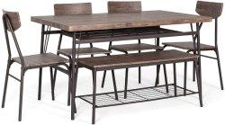 Casa moderna Conjunto de jantar W/porta-paletes, mesa retangular de bancada, 4 cadeiras atacadista