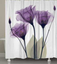 100% de poliéster impresso à prova de Flores cortinas de chuveiro para banho