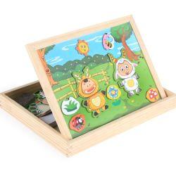Kids Juguetes de madera dibujo magnético escrito Junta rompecabezas juego