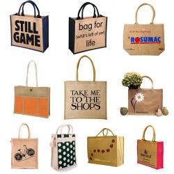 Groothandel voor Promotie grote aangepaste milieuvriendelijke Groothandel Jute Tote Shopping Zak