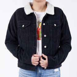 Personalizados de qualidade 100% algodão preta grossa lavada mulheres Jeans casacos