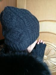 El Cashmere Chunky Cables Hat guantes