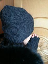 Kaschmir-klumpige Kabel-Hut-Handschuhe