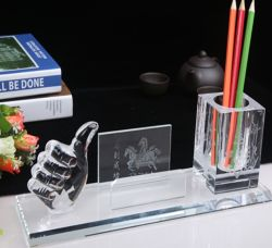 Usine de verre de souvenirs d'étudiant de l'École de gros porte-stylet Accueil Décoration d'alimentation Crystal Craft papeterie de bureau cadeau d'entreprise de promotion Premium