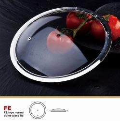 Utensili della cucina dell'orlo 201 dell'acciaio inossidabile del coperchio di vetro della FDA