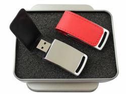 Rectángulo Noble 8GB 16GB 32 GB de 64Gb Blanco Negro de cuero de PU de memoria Flash USB 2.0 de disco duro memorias USB de cuero
