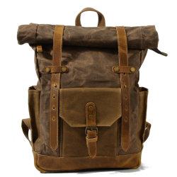 Saco de desporto exterior de couro Vintage lona impermeável mochila de viagem para computador portátil topo de Rolo RS-9108kd)