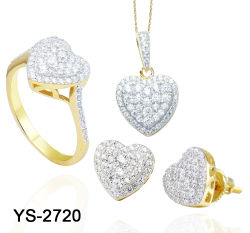 Corazón de Piedra Blanca, conjunto de piedras Joyería CZ