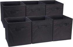 مكعبات التخزين القابلة للطي - 6 مجموعات، سوداء