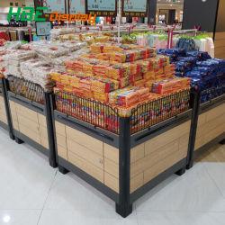 Commerce de gros supermarché Bureau d'affichage promotionnel de métal en bois