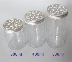 300g PET transparent avec couvercle creux en aluminium Jar alimentaires vides PET jar