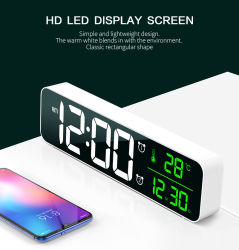 Espejo LED Digital Reloj Despertador Reloj de pared con termómetro de temperatura de la fecha del calendario