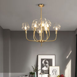 북유럽 디자이너 금 청동 철 예술 거는 램프 금관 악기 금속 막대 유리제 공 펜던트 빛
