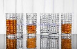 مجموعة زجاجية طويلة - مشروبات من الزجاج للنبيذ والويسكي والمياه وعصير والجعة والكوكتيلات. اللوحة، كوب زجاجي