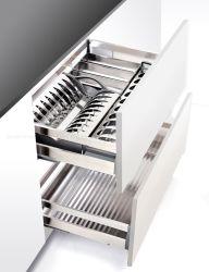 Многофункциональная кухонным шкафом для хранения принадлежностей выдвиньте лоток из нержавеющей стали корзины