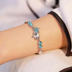 ロマンチックなバレンタインデーのギフトの絶妙なオーシャンブルーのヒトデの吊り下げ式のブレスレットのチャーミングな女性の党青い水晶宝石類
