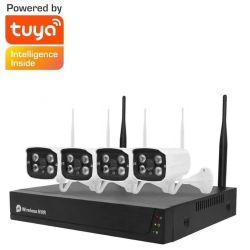 Tuya sistema di telecamere per la sicurezza domestica telecamera wireless 4CH 8CH 2MP Videocamera di sorveglianza video P2P 1080P con kit WIF NVR HD impermeabile Sistema di telecamere TVCC per esterni