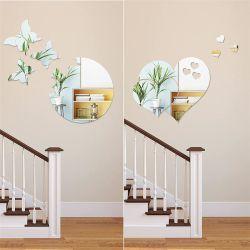 Adhesivos de pared DIY Espejo del corazón de la mariposa de plata pegatinas pegatinas Mural extraíble Espejo acrílico