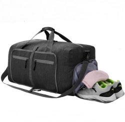 حقيبة دوانش قابلة للطيّ باللون الأسود كبيرة قابلة للتوسيع مقاومة للماء حقيبة رياضية مع حجرة أحذية