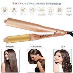 Rizado cabello liso y llano Titanium-Gold Dual-Use planchas de pelo Plancha de cabello herramientas Estilo
