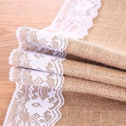 As rendas de alimentação no local toalhas de mesa de linho Iniciativa Bandeira Inkle artesanato de Natal Lace produtos de decoração de casamento a corda de juta