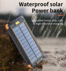Chargeur solaire portable Banque d'alimentation imperméable avec voyant LED