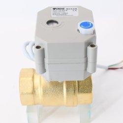 Valvola a sfera d'ottone motorizzata d'ottone dell'azionatore della valvola a sfera dell'acqua di controllo elettrico di 2 modi con il funzionamento manuale (T25-B2-B)
