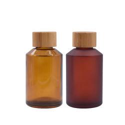 Upscale de isqueiros vazio frasco de vidro fosco Âmbar portátil com tampa de bambu Organizador de armazenagem em contêineres Cosmetic Atomizador jar para líquidos de perfume de Aromaterapia