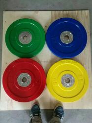 Platen van het Gewichtheffen van de Bumper van Barbell van de concurrentie de Reeks Gekleurde Stevige Rubber