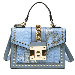 تصميم جديد أزياء سناكيسكين نقش قفل حقيبة للنساء مع مقبض عالي الجودة