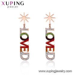 Mode d'amour Or Rose Style charme Long Drop Earrings Bijoux artificielle de pierre de zircone Earring