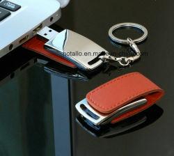 Couro portátil pequeno Memory Stick USB Flash logotipo estampado com porta-chaves