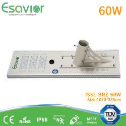 100000 heures la durée de vie Source de lumière LED 60W tous dans l'un éclairage extérieur LED solaire intégrée de la rue de la route de la lampe solaire